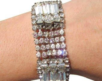 Formal Rhinestone Bracelet Baguette and Chaton Rhinestones on Silver Tone, Vintage Jewelry, Rhinestone Jewelry, Wedding Bracelet