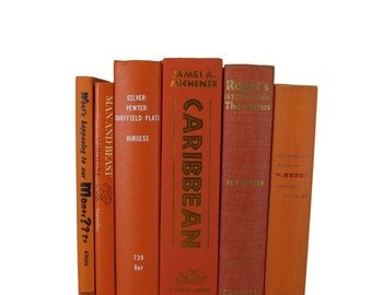 Orange and Rust Decorative Books, Vintage Wedding Decor , Vintage Book Decor , Home Decor , Photo Prop , Bookshelf Decor