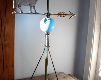 "Vintage 32"" Lightning Rod with Cow Weathervane - Blue Milk Glass Ball - Massachusetts - Berkshires - Farmhouse"