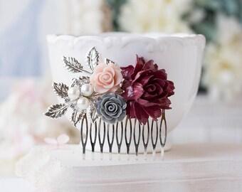 Silver Bridal Hair Comb Maroon Burgundy Dark Red Wedding Hair Comb Red Gray Dusty Pink Flower Pearl Rhinestone Fall Autumn Wedding Comb