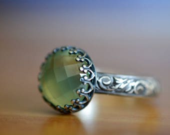 10mm Prehnite Engagement Ring, Custom Engraved Ring, Oxidized Silver Renaissance Style Ring with Engraving, Unique Natural Gemstone Jewelry