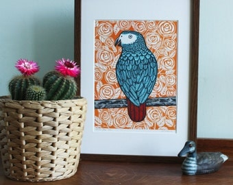 African Grey Parrot, Original Linocut Print, Signed Limited Edition of 25, Free Postage in UK, Hand Pulled, Printmaking,