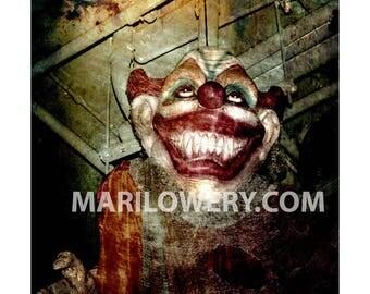 Creepy Clown Halloween Wall Decor, Horror Photography, Halloween Decoration, Creepy Wall Art, 7x7 on 8.5 x 11 inch Paper, frighten