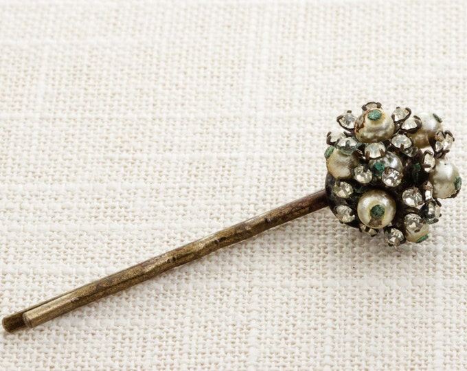 Pearl and Rhinestone Cluster Hair Clip Embellished Bobby Pin Handmade in USA Hair Pins 16V