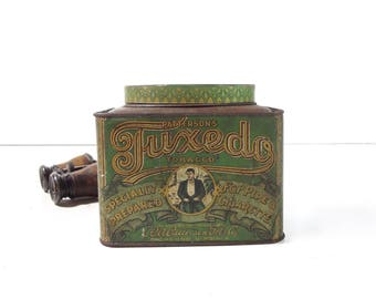 Vintage Tuxedo Tobacco Tin Box / Rare One Pound Oval Top Patterson's Tuxedo Tobacco Advertising Tin Canister