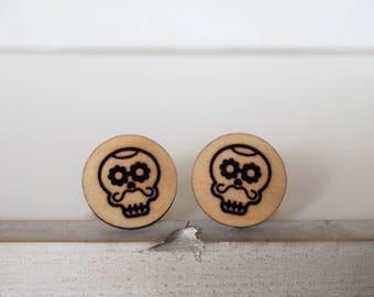 Skull Cufflinks Mustache Mexican Sugar Skull Cufflinks Dia De Los Muertos Day of The Dead Cufflinks
