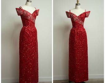 Vintage 1970s Dress • Dreaming Mind • Red Sequin Formal Late 70s Evening Gown by Mike Benet Size Small