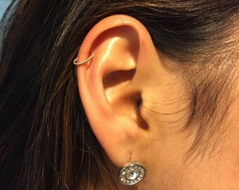 Cartilage Coil Twist Wire Rook Snug Fit Hoop, Orbital Helix Cuff Hoop, Gold Rope Cartilage Earring, Nose Piercing, Gold Twisted Rope Hoops