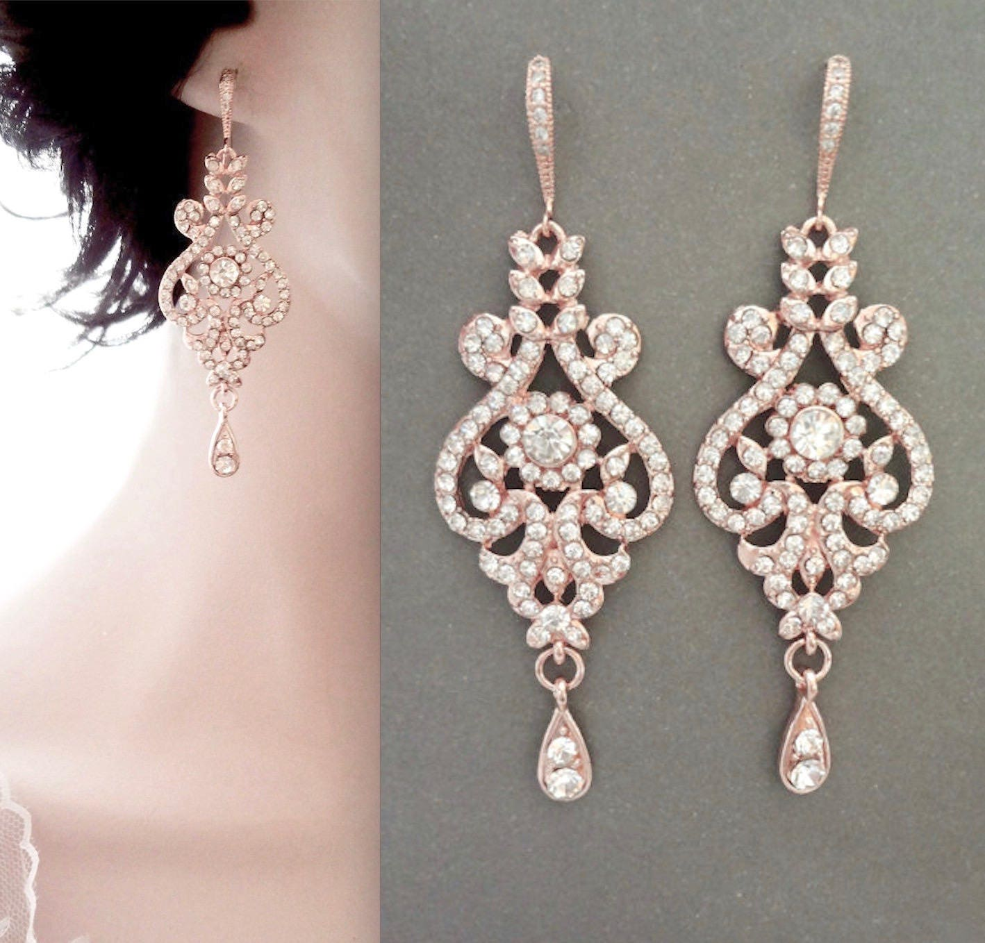 Rose Gold Earrings Brides Crystal Chandelier