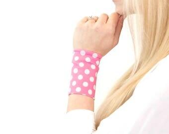Wrist Cuff Bracelet, Pink Bracelet Polka Dot, Stretch Cuffs, Wrist Tattoo Cover Up Arm Band Tattoo Covers Wristband Fabric Bracelets Armband