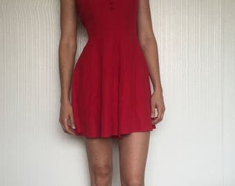 Vintage Red Rayon Romper Playsuit Jumper XS/S