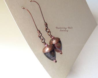 Elongated Black Drop Earrings, Bullet Beads with Etched Copper Caps, Natural Plum Blossom Jasper Stone with a Touch of Pink, Copper Jewelry