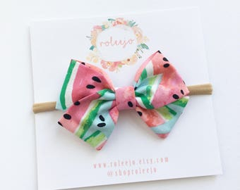 Watermelon Sailor Bow; Baby Girl, Toddler, Girl Hair Accessories
