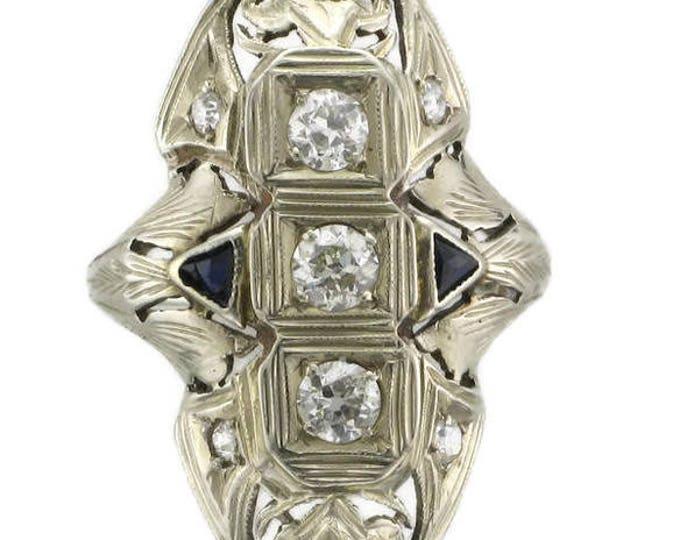 Edwardian Ladies 18 Karat White Gold Diamond and Sapphire Ring