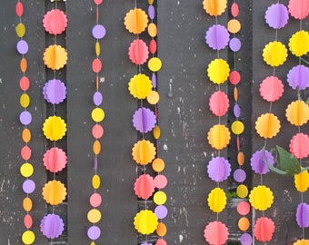 Birthday Party Decorations, Marigold Garlands, Photo Backdrop, Bollywood Themed, Paper Garlands, Pom Pom Garlands,Pkg of 6 - 10 ft long each