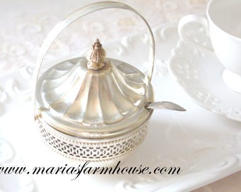 SUGAR BOWL, Mid Century, Silverplated Sugar Bowl with Handle and Spoon, High Tea Party Decor, Gifts for Her