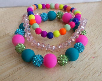 3 Stretch Bangle Bracelets made with Multi Color Beads, Disco Beads and Pink Crystal Beads
