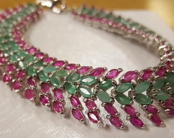 2100.00 New Dazzling Natural 148tcw Brazilian Emeralds Madagascar Rubies 8.5 Inch Bracelet 925 Solid Sterling Silver With Free Shipping USA
