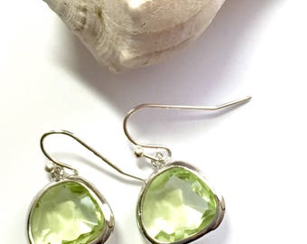 Pale green glass earrings - green faceted glass earrings, glass drop earrings, glass sparkle earrings
