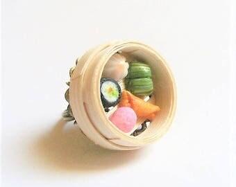 Food Jewelry Dim Sum Ring, Dumplings Ring, Bamboo Steamer Ring, Miniature Food Jewellery, Mini Food Ring, Dim Sum Jewelry, Chinese Food Ring