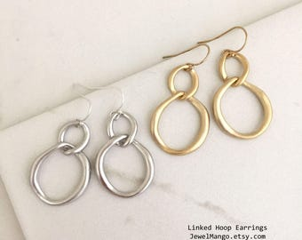 SPRING SALE / Linked Hoop Earrings, Gold Hoop Earrings, Silver hoop earrings, sterling silver earrings, 14K Gold Fill Earrings, simple