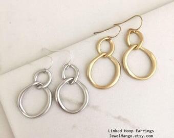 FALL SALE / Linked Hoop Earrings, Gold Hoop Earrings, Silver hoop earrings, sterling silver earrings, 14K Gold Fill Earrings, simple, modern