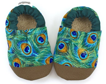 peacock shoes, soft sole shoes, peacock feathers, girl shoes, toddler slippers, vegan, rubber sole shoes, baby booties, green and brown