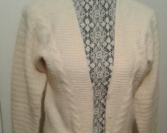 Vintage Hand Knit Lambs Wool Angora Cardigan by Ellen Tracy