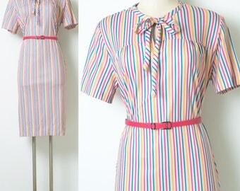 60s Dress, vintage Stripe dress, Vintage Pink Dress,  Mad Men Dress, 60s Pink Dress,Vintage bow tie dress, 60s day dress,multicolor - XL/1XL