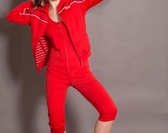 Vintage 1980's Red Cotton Adidas Tracksuit