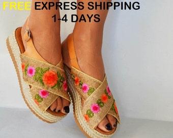 Greek leather sandals, Boho flatforms, Handmade sandals, X-strap gold sandals, Boho espadrilles, Slingback sandals ''Call me Flora''