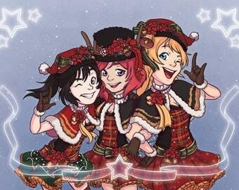 Love Live - School Idol Festival 'BiBi' Christmas Digital Fan Art Print