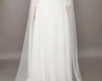 Couture bridal veil, lace edge veil, soft tulle, Dorothy