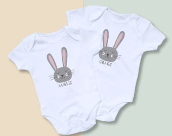 Easter Bunny Personalised Twin Bodysuit Set - Baby Easter Outfit - Personalized Easter Onesie - Sibling Set - Cute Easter Outfit - Baby Name