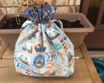 Small Knit or Crochet Project bags - beach print
