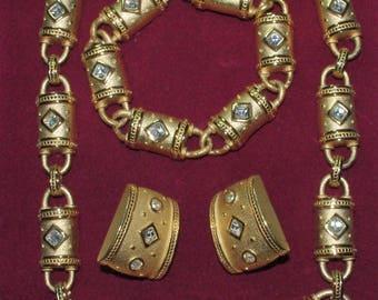 Joan Collins 3pc Barrel Set - Necklace, Bracelet & Earrings - S2251