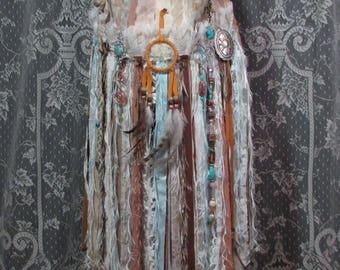 Hippie Gypsy Fringe Festival Bag - Native American Navajo Dream Catcher - Bohemian Hippie Fringe Bag - Boho Bag - Cross Body Festival Purse