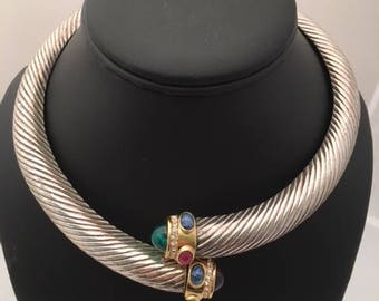 GIVENCHY CHOKER Necklace - Hinged - Yurman Style - Signed