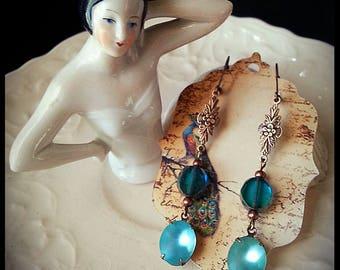Beautiful Earth Collection, Vintage 1940's Aqua Sea Glass Art Nouveau Earrings