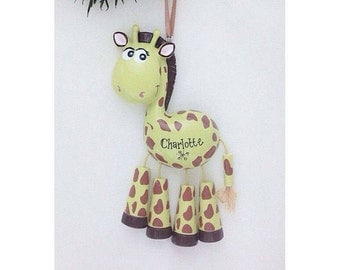 Giraffe Personalized Christmas Ornament - Zoo Animal Ornament - Hand Personalized Christmas Ornament