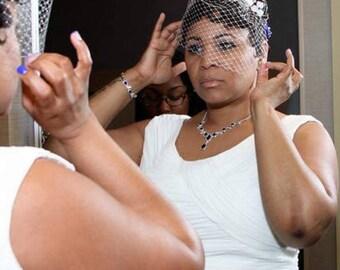 Ivory and royal blue birdcage veil headband  Bridal veil fascinator Simple fascinator with veil Bridal headpiece Hair piece