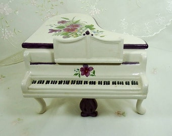 Vintage Porcelain Baby Grand Piano, Hand Painted, Violets