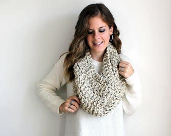 Knitted Scarf Cowl Chunky Knit Oatmeal- Anacostia Cowl