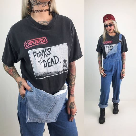 90's The Exploited Punk Tee Large - Punks Not Dead The Exploited T-shirt - Unisex Holey Distressed Hardcore Punk Crossover Thrash Show Shirt