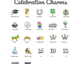 Charms for Memory Locket, CELEBRATION Floating Charm for Glass Lockets, Personalized Memory Locket Charm, Floating Locket Charm Necklace.