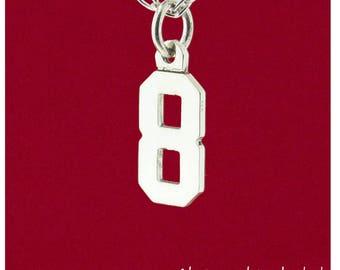 "Custom Single 1 Digit Number Charm 0-9 ""Pretty Sporty"" Varsity Sports Uniform Pendant 925 Sterling Silver Personalized Jewelry Necklace"