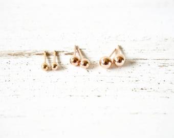 14kt Rose Gold Filled Ball Earrings, Sterling Silver Ball Post Earrings, 14K Gold Filled Ball Post Earrings