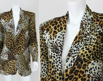 Vintage Blazer Animal Print Leopard Cheetah Size Large Jacket Pockets
