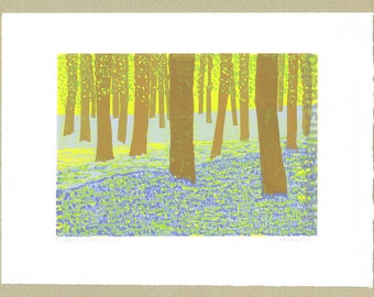 Bluebell Wood - Limited Edition Linocut Print