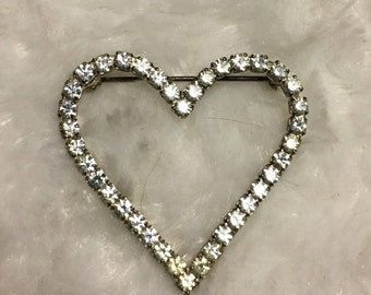 Vintage Heart Rhinestone Pin, Valentine Heart Pin
